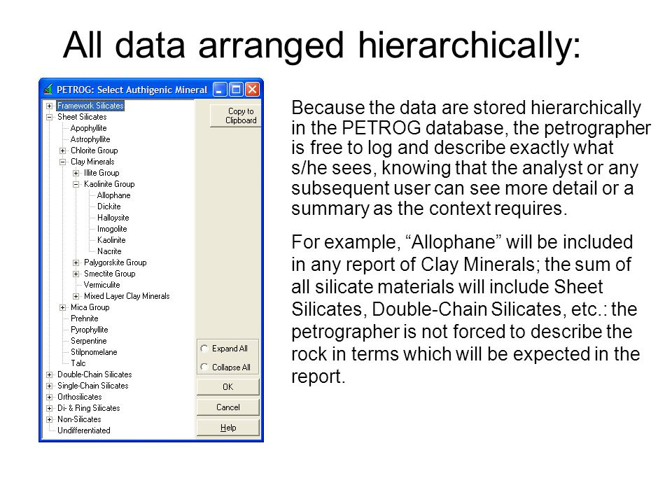 All data arranged hierarchically: Because the data are stored hierarchically in the PETROG database, the petrographer is free to log and describe exac