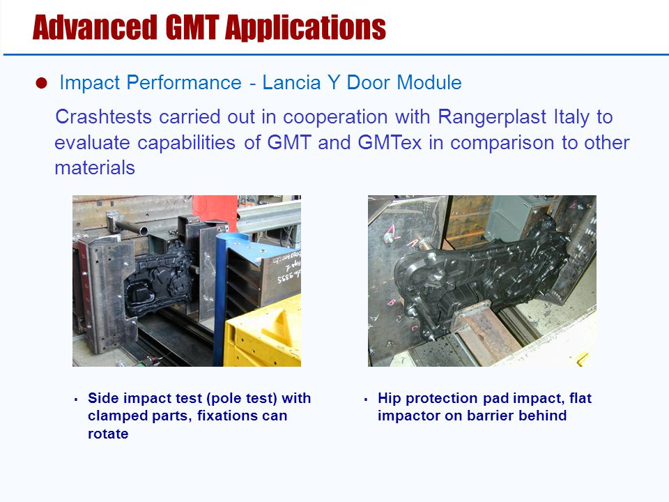  Impact Performance - Lancia Y Door Module Advanced GMT Applications Crashtests carried out in cooperation with Rangerplast Italy to evaluate capabil