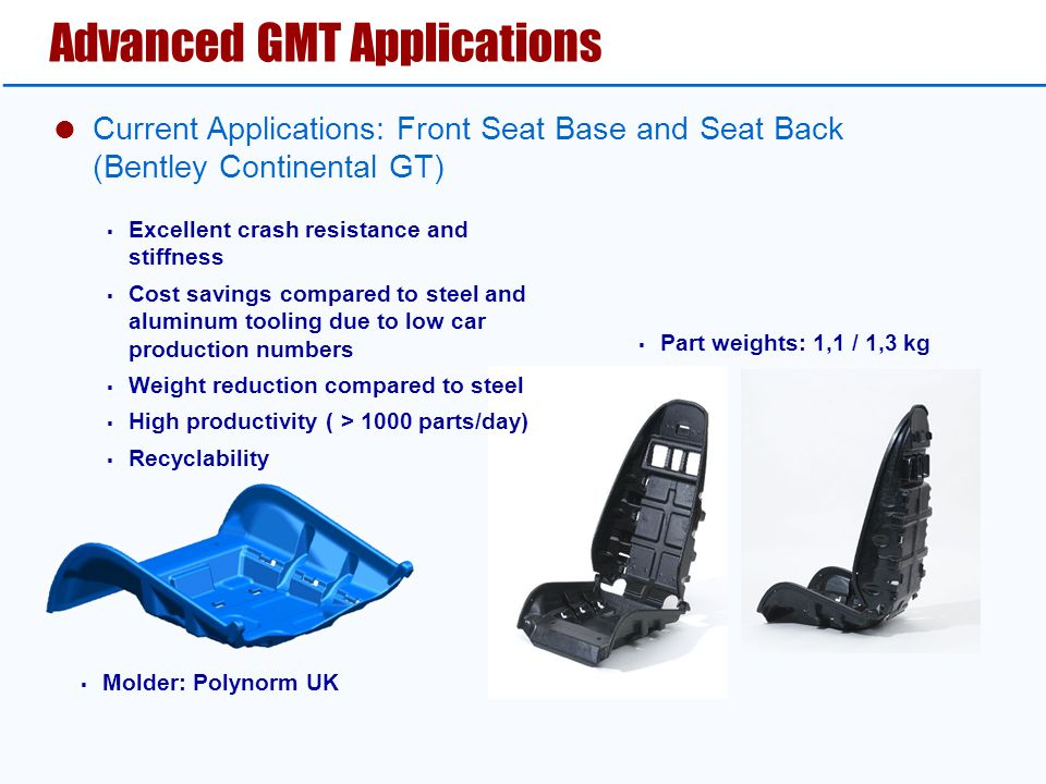 Advanced GMT Applications  Current Applications: Front Seat Base and Seat Back (Bentley Continental GT)  Excellent crash resistance and stiffness  Cost savings compared to steel and aluminum tooling due to low car production numbers  Weight reduction compared to steel  High productivity ( > 1000 parts/day)  Recyclability  Molder: Polynorm UK  Part weights: 1,1 / 1,3 kg