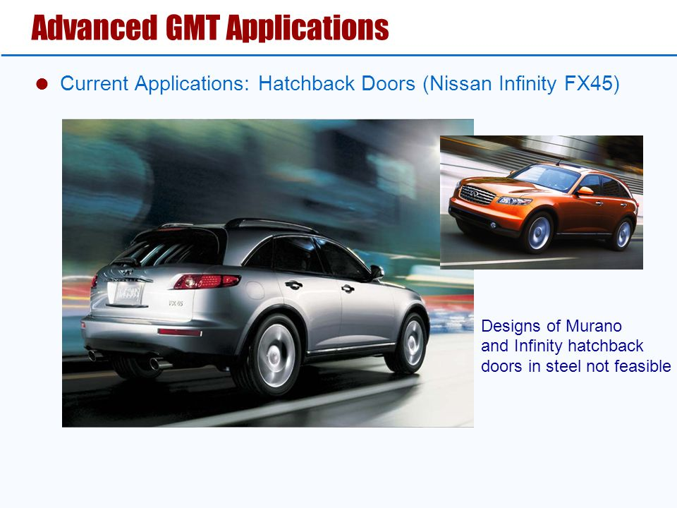 Advanced GMT Applications  Current Applications: Hatchback Doors (Nissan Infinity FX45) Designs of Murano and Infinity hatchback doors in steel not feasible