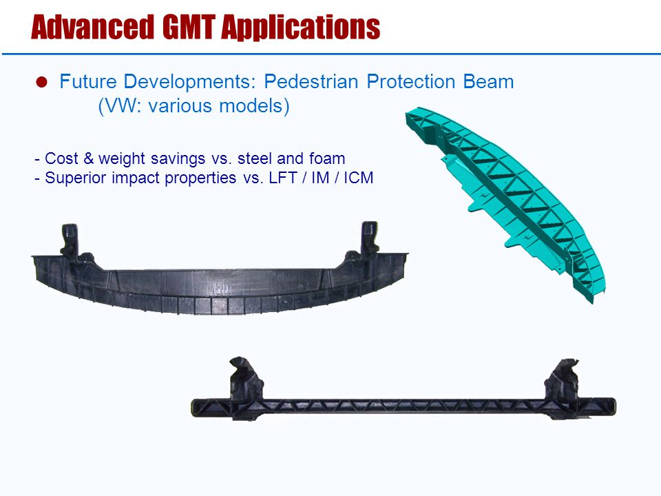 Advanced GMT Applications  Future Developments: Pedestrian Protection Beam (VW: various models) - Cost & weight savings vs.