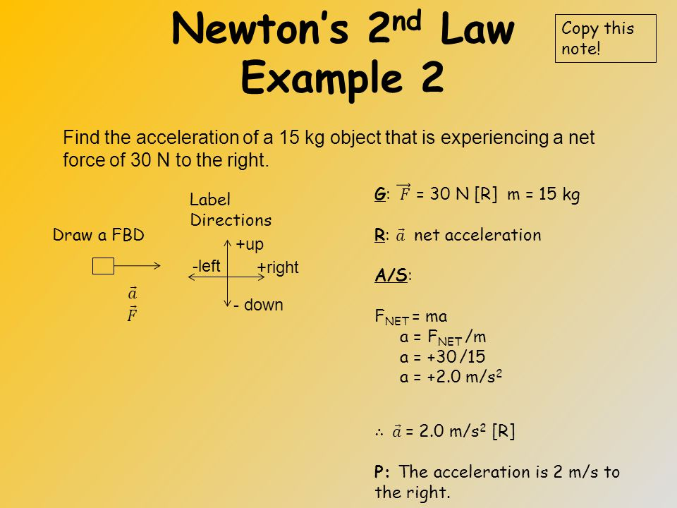Newton's 2 nd Law Example 1 Find the net force acting on a 10 kg object that is accelerating at 5.0m/s 2 south. Draw a FBD Copy this note! +N +E - S -