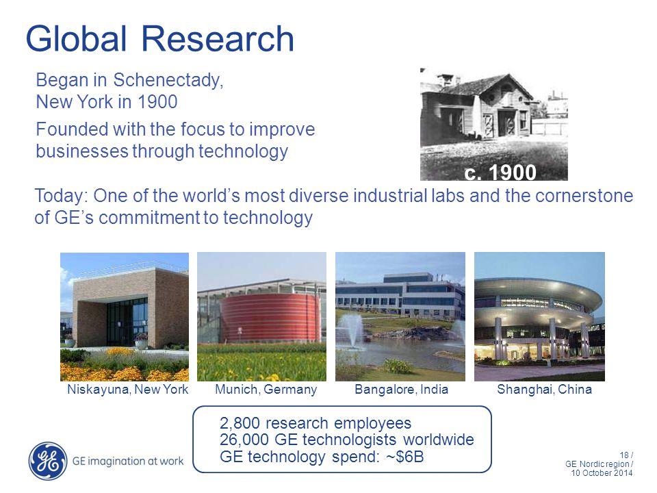 18 / GE Nordic region / 10 October 2014 Global Research Began in Schenectady, New York in 1900 Founded with the focus to improve businesses through te
