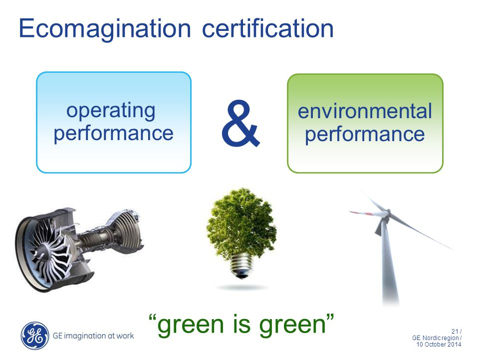21 / GE Nordic region / 10 October 2014 Ecomagination certification environmental performance operating performance & green is green