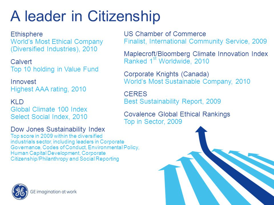 36 / GE Nordic region / 10 October 2014 A leader in Citizenship US Chamber of Commerce Finalist, International Community Service, 2009 Maplecroft/Bloomberg Climate Innovation Index Ranked 1 st Worldwide, 2010 Corporate Knights (Canada) World's Most Sustainable Company, 2010 CERES Best Sustainability Report, 2009 Covalence Global Ethical Rankings Top in Sector, 2009 Ethisphere World's Most Ethical Company (Diversified Industries), 2010 Calvert Top 10 holding in Value Fund Innovest Highest AAA rating, 2010 KLD Global Climate 100 Index Select Social Index, 2010 Dow Jones Sustainability Index Top score in 2009 within the diversified industrials sector, including leaders in Corporate Governance, Codes of Conduct, Environmental Policy, Human Capital Development, Corporate Citizenship/Philanthropy and Social Reporting