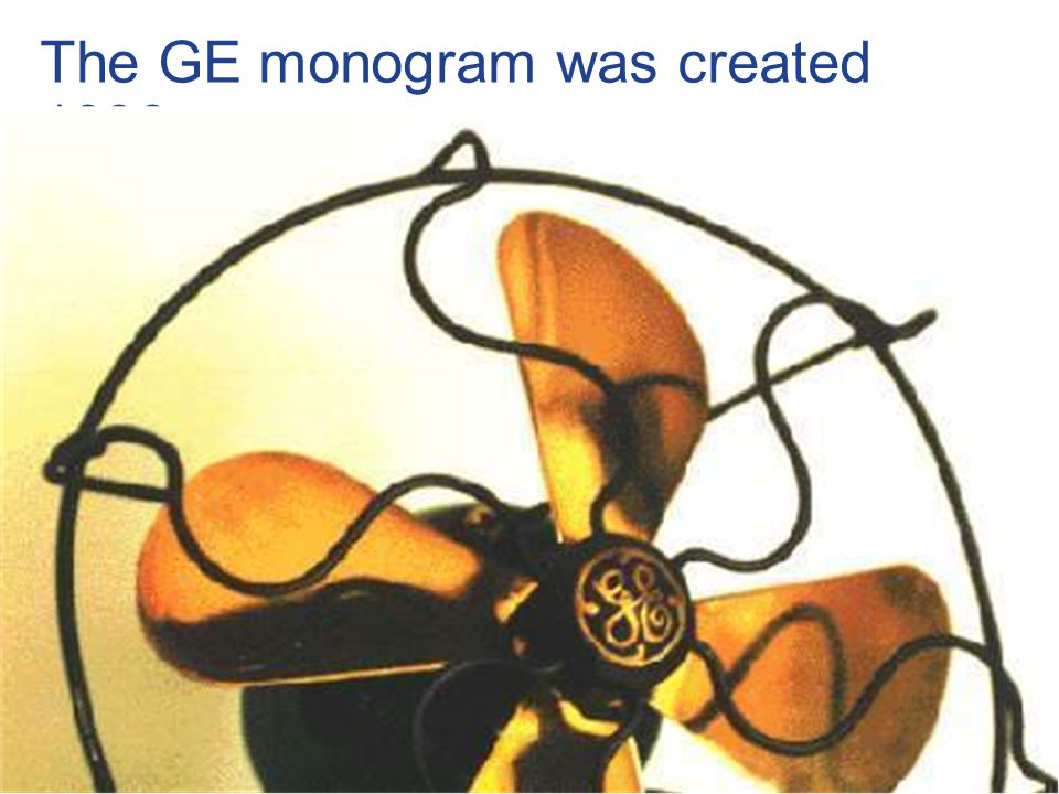 38 / GE Nordic region / 10 October 2014 The GE monogram was created 1896