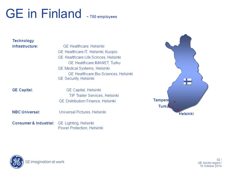 52 / GE Nordic region / 10 October 2014 GE in Finland ~ 750 employees Technology Infrastructure: GE Healthcare, Helsinki GE Healthcare IT, Helsinki, Kuopio GE Healthcare Life Scinces, Helsinki GE Healthcare IMANET, Turku GE Medical Systems, Helsinki GE Healthcare Bio-Sciences, Helsinki GE Security, Helsinki GE Capital: GE Capital, Helsinki TIP Trailer Services, Helsinki GE Distribution Finance, Helsinki NBC Universal: Universal Pictures, Helsinki Consumer & Industrial:GE Lighting, Helsinki Power Protection, Helsinki Helsinki Turku Tampere