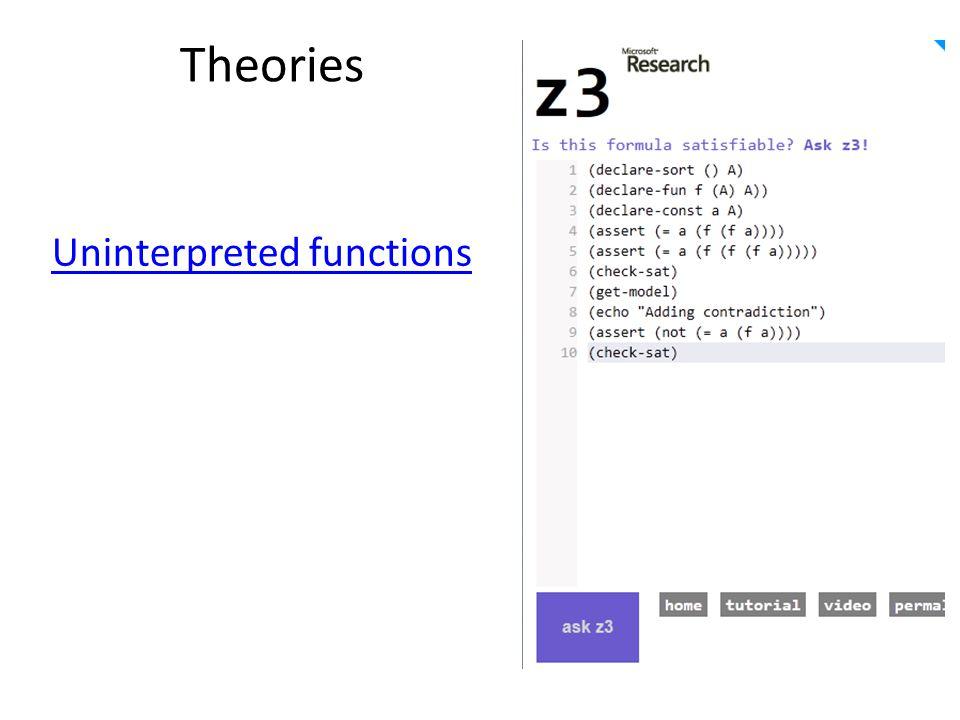 Theories Uninterpreted functions