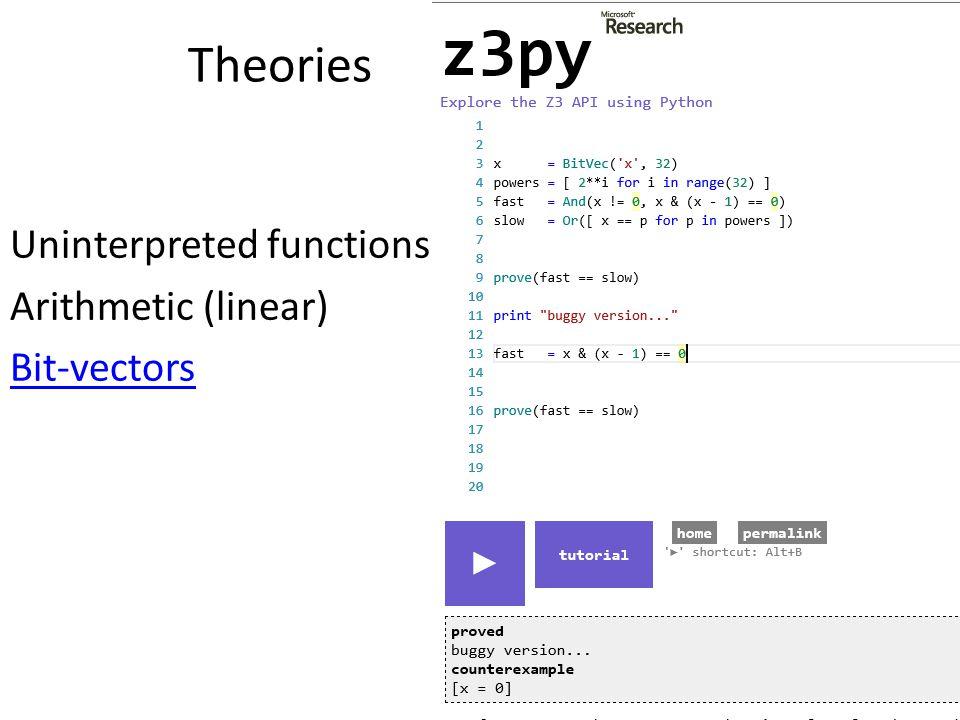 Uninterpreted functions Arithmetic (linear) Bit-vectors Theories