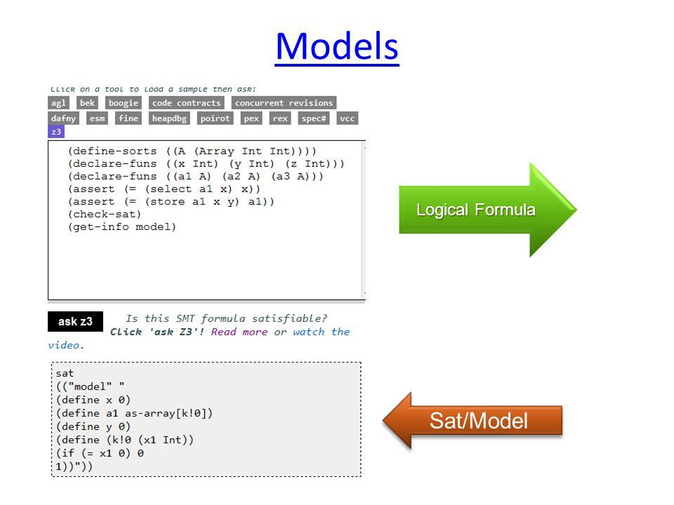 Logical Formula Sat/Model Models