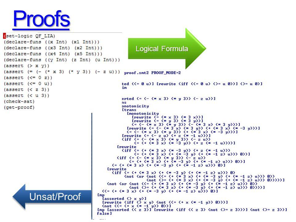 Proofs Logical Formula Unsat/Proof