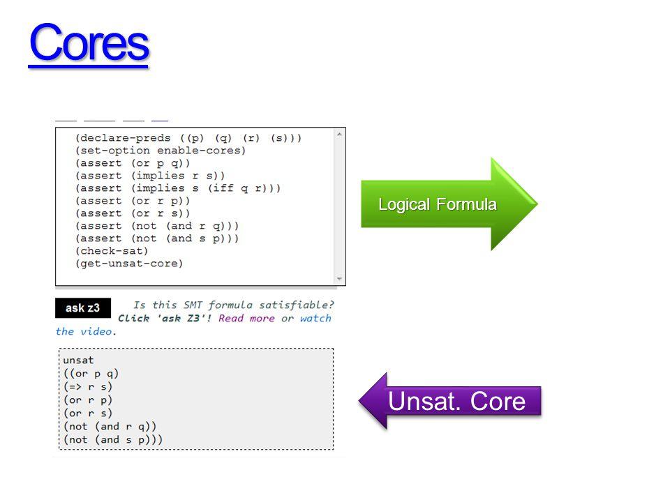 Cores Logical Formula Unsat. Core