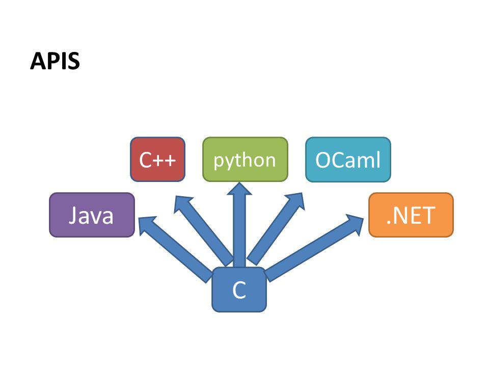 APIS C C++ python OCaml.NETJava