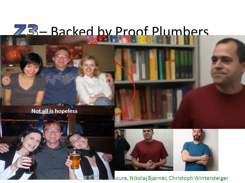 – Backed by Proof Plumbers Leonardo de Moura, Nikolaj Bjørner, Christoph Wintersteiger Handbook of Satisfiability Not all is hopeless