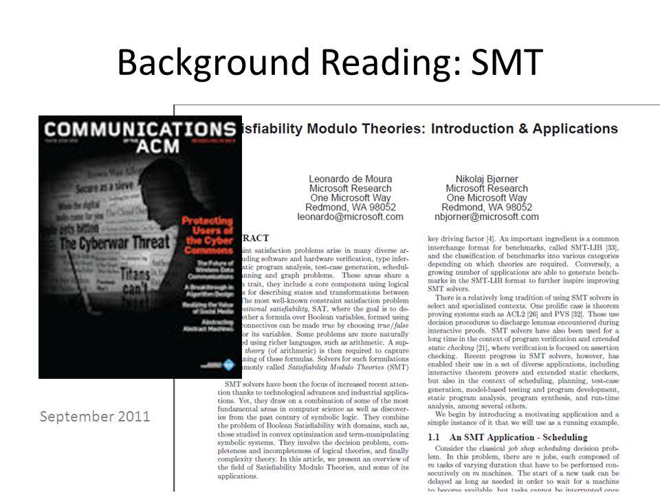 Background Reading: SMT September 2011