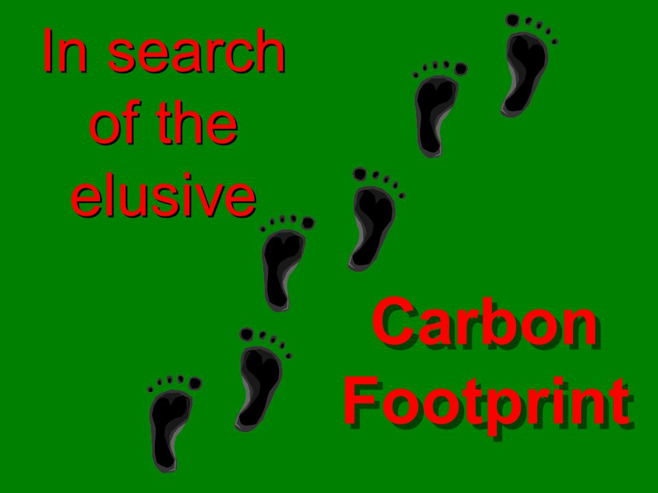 In search of the elusive Carbon Footprint