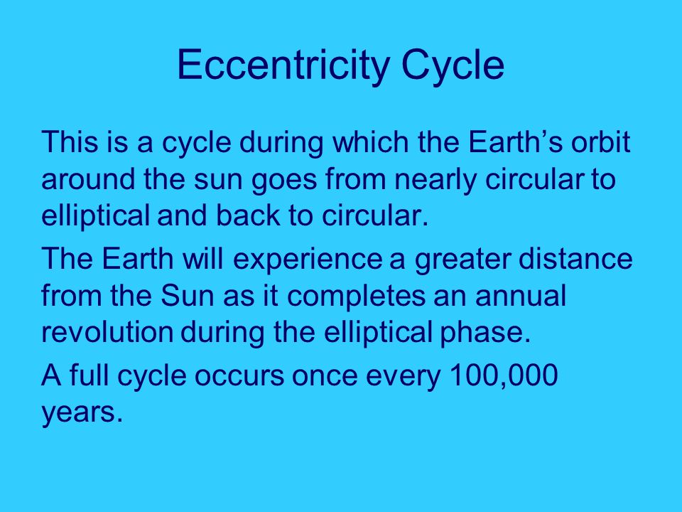 Eccentricity Cycle This is a cycle during which the Earth's orbit around the sun goes from nearly circular to elliptical and back to circular.