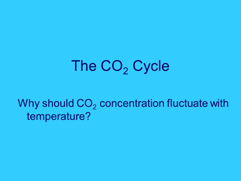 The CO 2 Cycle Why should CO 2 concentration fluctuate with temperature?