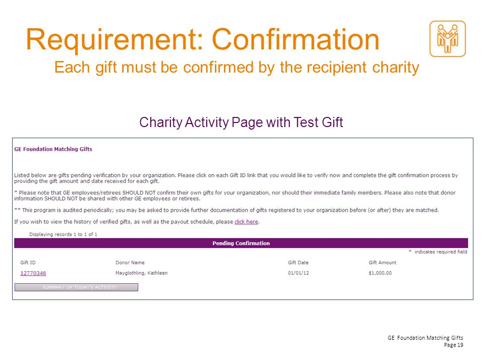GE Foundation Matching Gifts Page 19 Each gift must be confirmed by the recipient charity Requirement: Confirmation Charity Activity Page with Test Gi