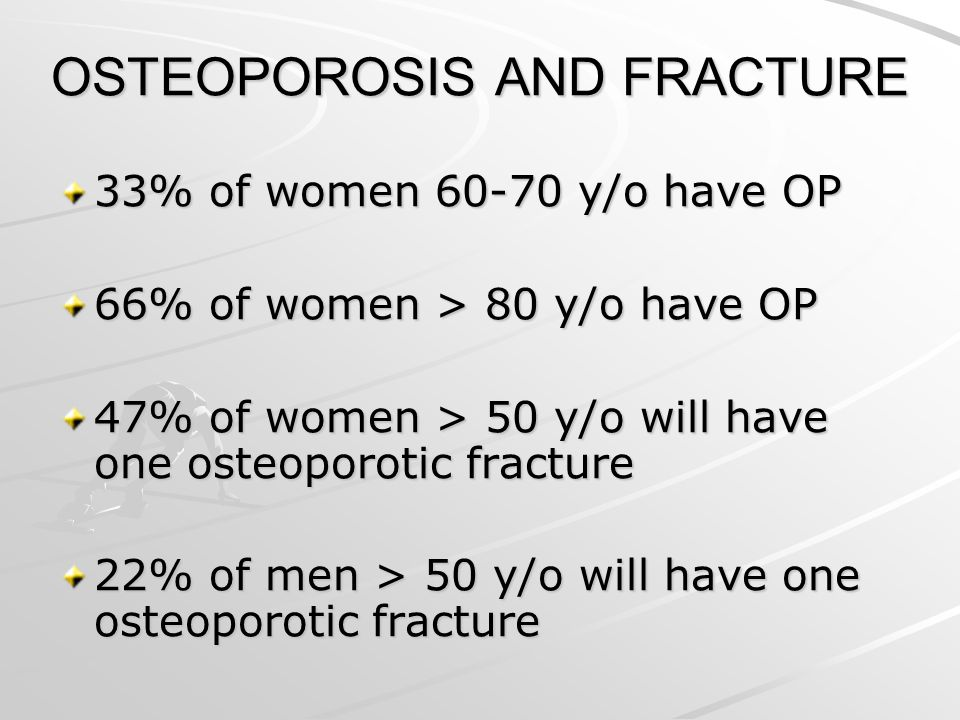 OSTEOPOROSIS AND FRACTURE 33% of women 60-70 y/o have OP 66% of women > 80 y/o have OP 47% of women > 50 y/o will have one osteoporotic fracture 22% o