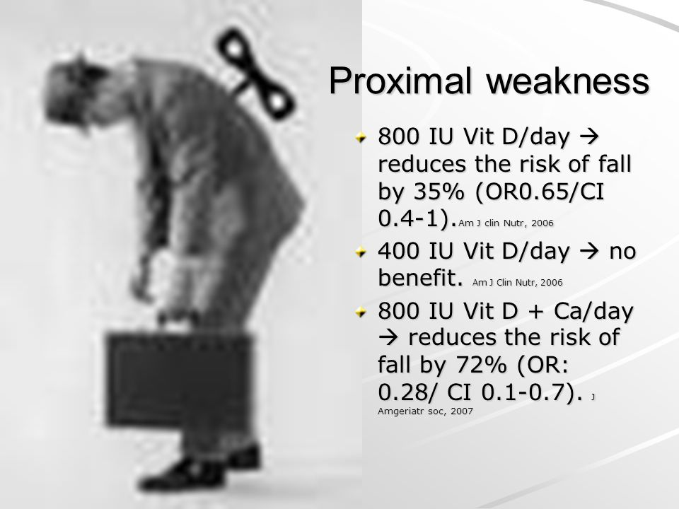 Proximal weakness Proximal weakness 800 IU Vit D/day  reduces the risk of fall by 35% (OR0.65/CI 0.4-1). Am J clin Nutr, 2006 400 IU Vit D/day  no b