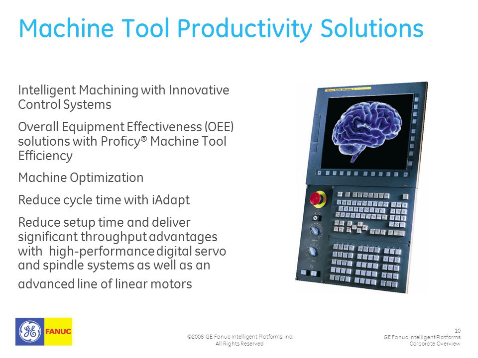 10 GE Fanuc Intelligent Platforms Corporate Overview ©2008 GE Fanuc Intelligent Platforms, Inc. All Rights Reserved Machine Tool Productivity Solution