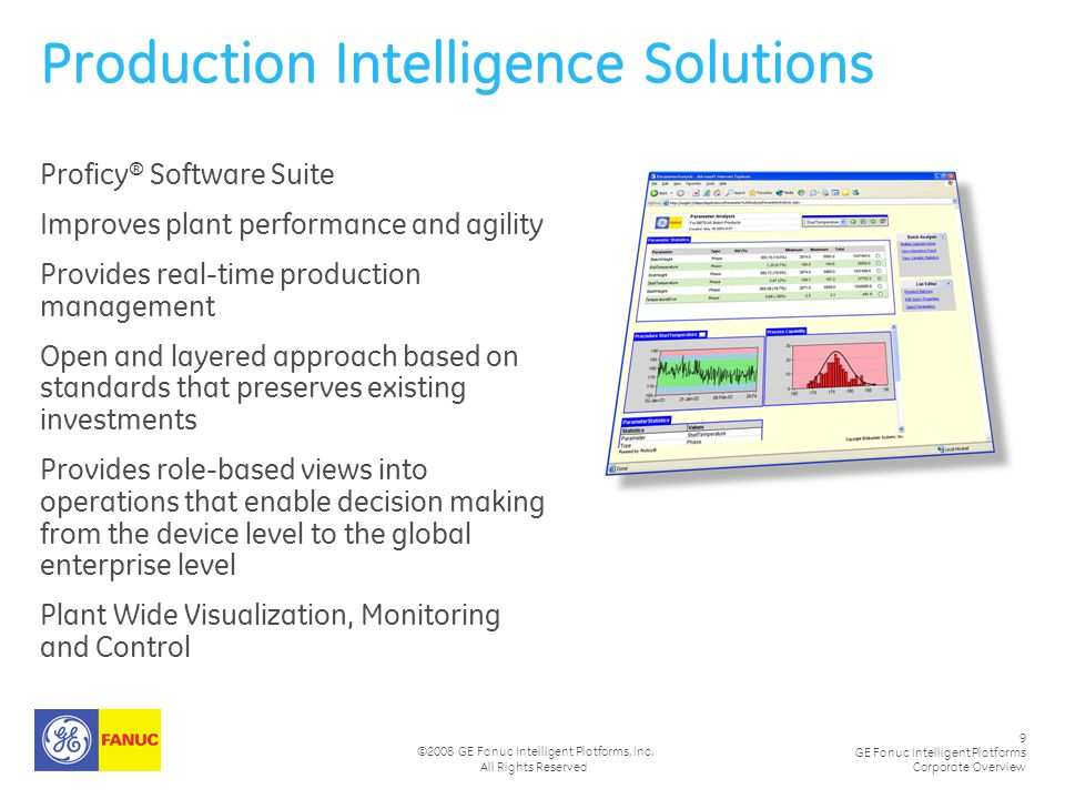9 GE Fanuc Intelligent Platforms Corporate Overview ©2008 GE Fanuc Intelligent Platforms, Inc. All Rights Reserved Production Intelligence Solutions P