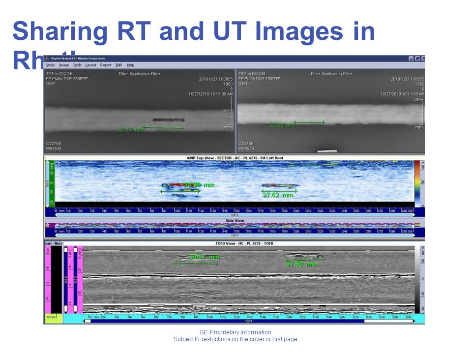 GE Proprietary Information Subject to restrictions on the cover or first page Sharing RT and UT Images in Rhythm