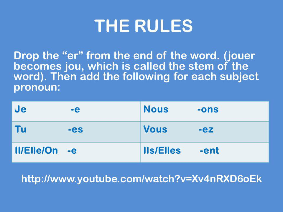 """THE RULES Drop the """"er"""" from the end of the word. (jouer becomes jou, which is called the stem of the word). Then add the following for each subject p"""