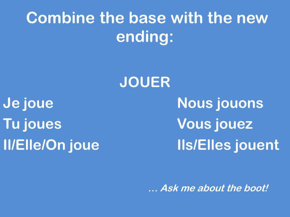 Combine the base with the new ending: JOUER Je joueNous jouons Tu jouesVous jouez Il/Elle/On joueIls/Elles jouent … Ask me about the boot!