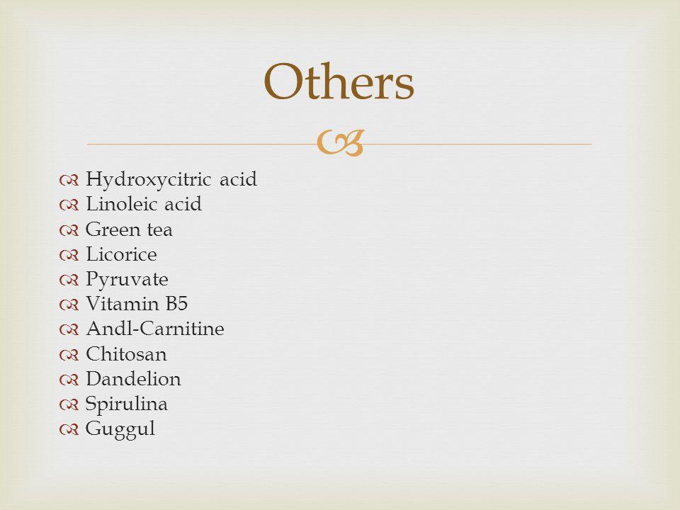   Hydroxycitric acid  Linoleic acid  Green tea  Licorice  Pyruvate  Vitamin B5  Andl-Carnitine  Chitosan  Dandelion  Spirulina  Guggul Others