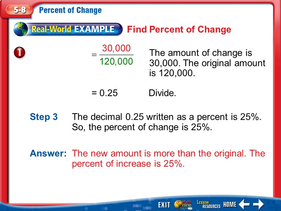 Example 1 = 0.25Divide. Answer: The new amount is more than the original.