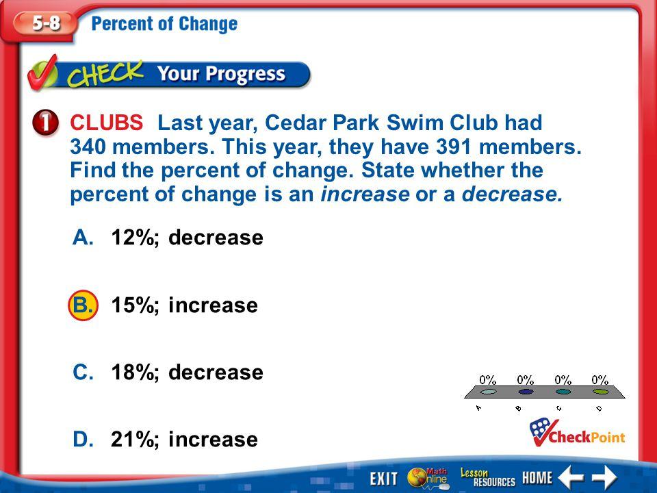 1.A 2.B 3.C 4.D Example 1 A.12%; decrease B.15%; increase C.18%; decrease D.21%; increase CLUBS Last year, Cedar Park Swim Club had 340 members.