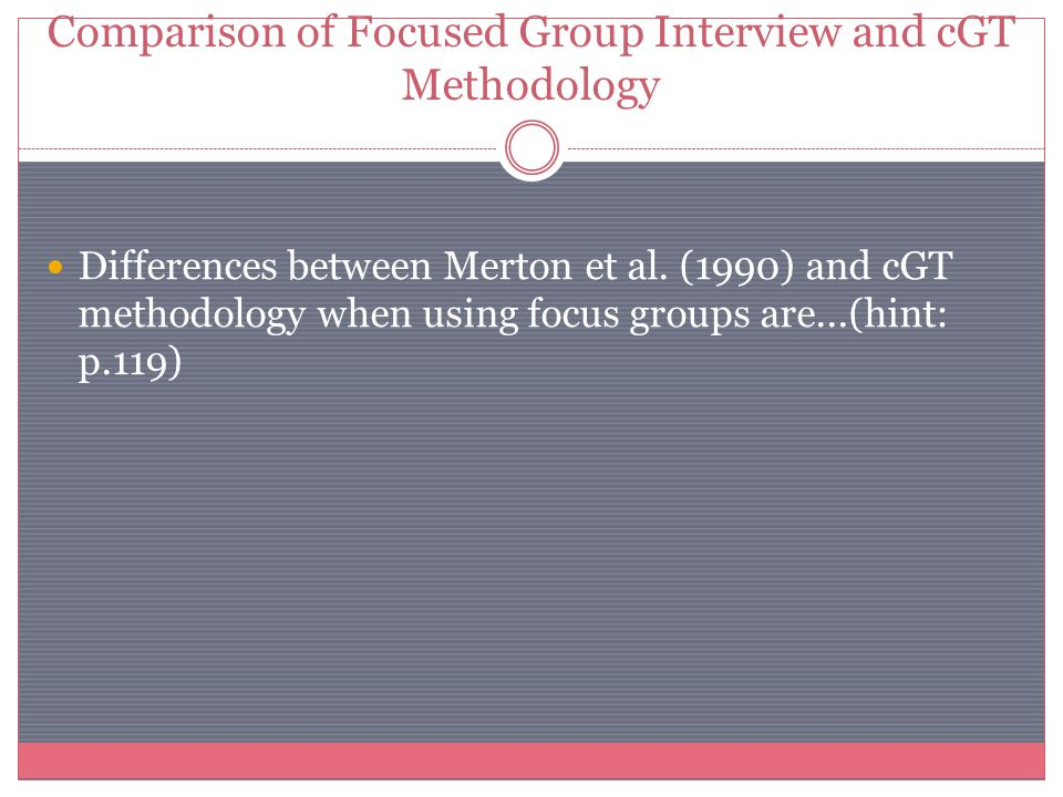 Comparison of Focused Group Interview and cGT Methodology Differences between Merton et al. (1990) and cGT methodology when using focus groups are...(