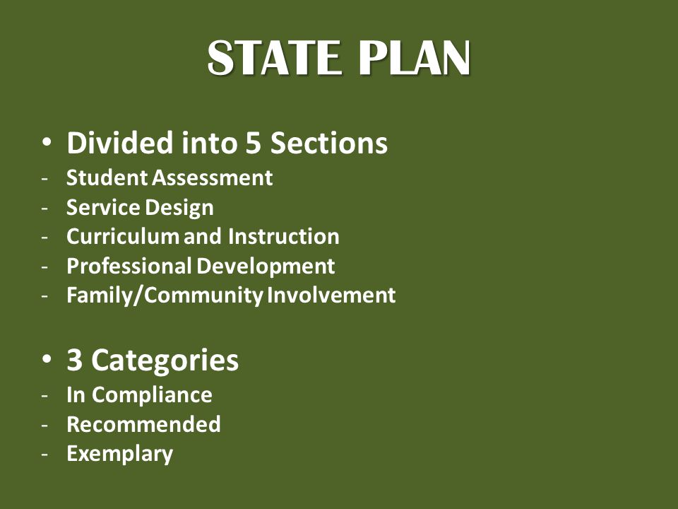 STATE PLAN Divided into 5 Sections -Student Assessment -Service Design -Curriculum and Instruction -Professional Development -Family/Community Involvement 3 Categories -In Compliance -Recommended -Exemplary
