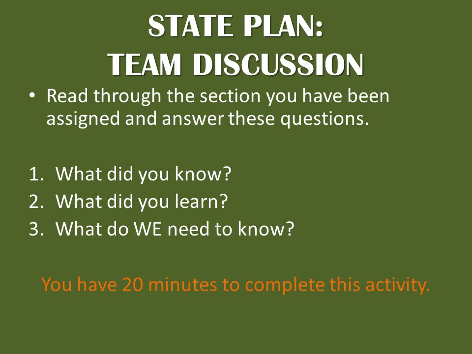 STATE PLAN: TEAM DISCUSSION Read through the section you have been assigned and answer these questions.