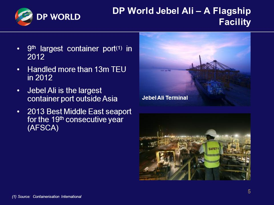 DP World Jebel Ali – A Flagship Facility 6 Handling one of the largest container ships in the world, the Emma Maersk, 397 metres long, nominal capacity of 15,000 TEUs DP World developed quad-container lift cranes – the largest in the world – capable of handling 4x20ft containers at once