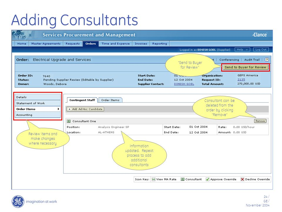 24 / GE / November 2004 Adding Consultants Information updated.