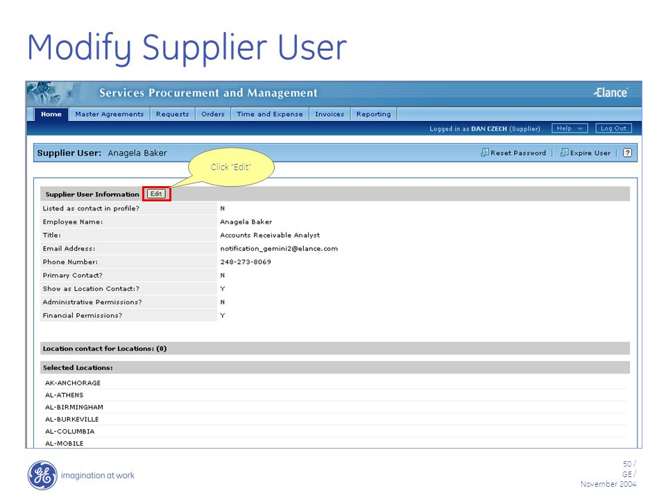 50 / GE / November 2004 Modify Supplier User Click Edit