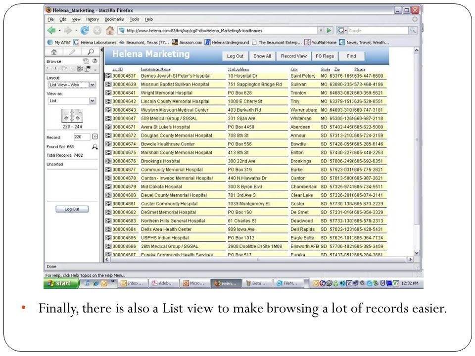 Finally, there is also a List view to make browsing a lot of records easier.