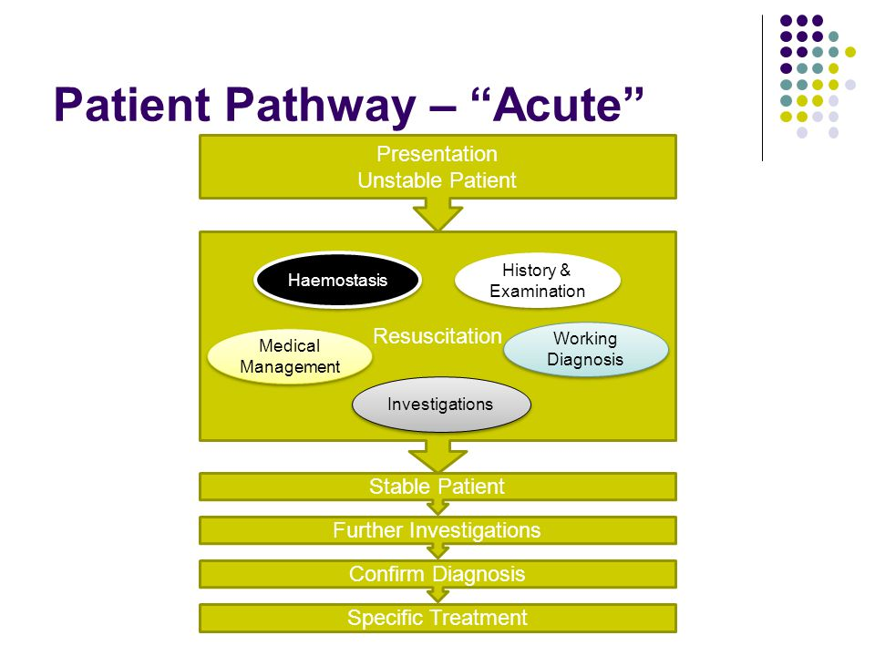 "Patient Pathway – ""Acute"" Presentation Unstable Patient Specific Treatment Stable Patient Further Investigations Confirm Diagnosis Resuscitation Haemo"
