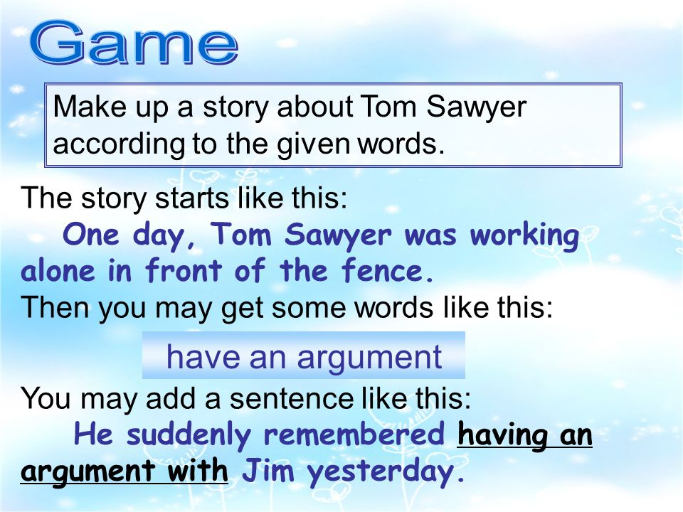 The story starts like this: One day, Tom Sawyer was working alone in front of the fence.