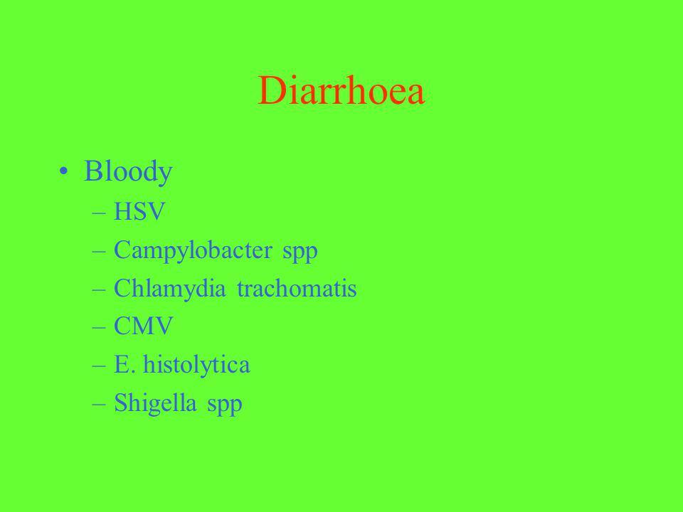 Diarrhoea Bloody –HSV –Campylobacter spp –Chlamydia trachomatis –CMV –E. histolytica –Shigella spp