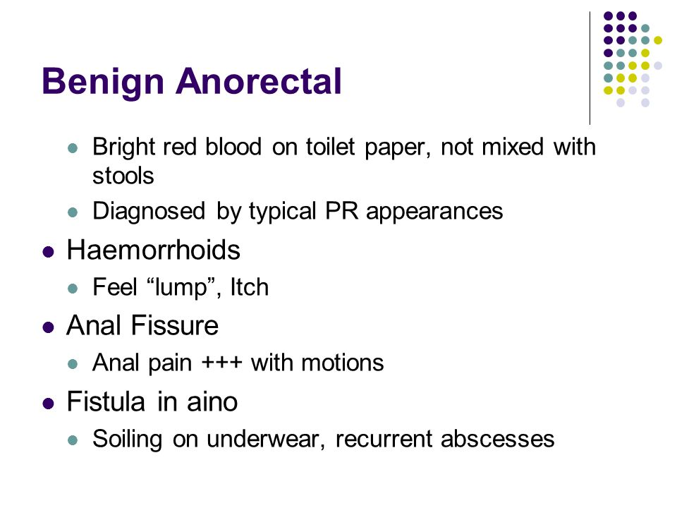 """Benign Anorectal Bright red blood on toilet paper, not mixed with stools Diagnosed by typical PR appearances Haemorrhoids Feel """"lump"""", Itch Anal Fissu"""