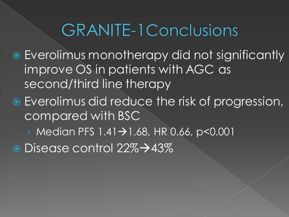  Everolimus monotherapy did not significantly improve OS in patients with AGC as second/third line therapy  Everolimus did reduce the risk of progression, compared with BSC › Median PFS 1.41  1.68, HR 0.66, p<0.001  Disease control 22%  43%