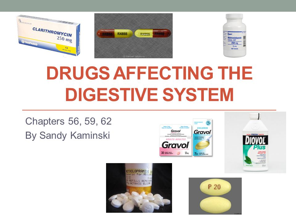 DRUGS AFFECTING THE DIGESTIVE SYSTEM Chapters 56, 59, 62 By Sandy Kaminski