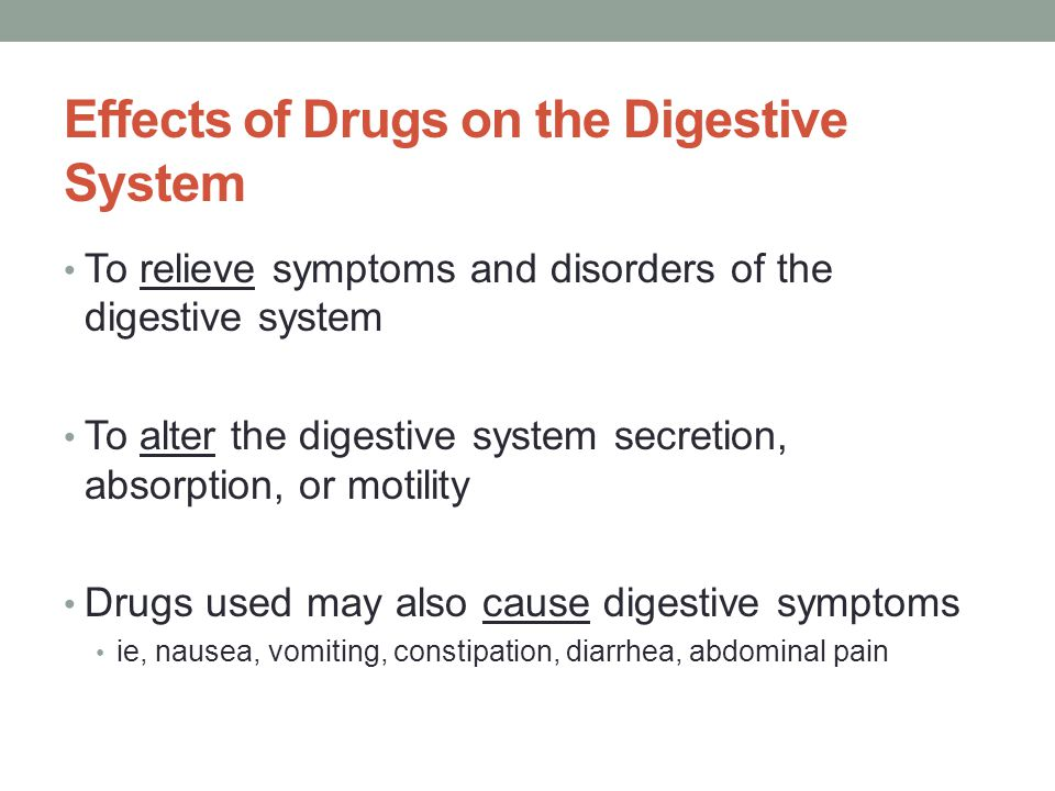 Effects of Drugs on the Digestive System To relieve symptoms and disorders of the digestive system To alter the digestive system secretion, absorption