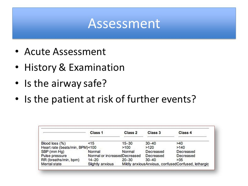 Assessment Acute Assessment History & Examination Is the airway safe? Is the patient at risk of further events?