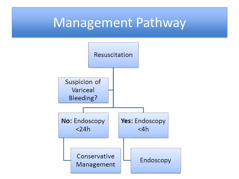 Management Pathway Resuscitation No: Endoscopy <24h Conservative Management Yes: Endoscopy <4h Endoscopy Suspicion of Variceal Bleeding?