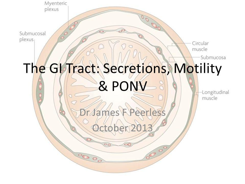 The GI Tract: Secretions, Motility & PONV Dr James F Peerless October 2013